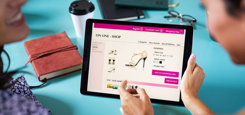 Friends shopping shoes online