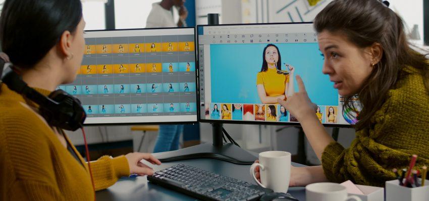 Photographers using professional retouching software